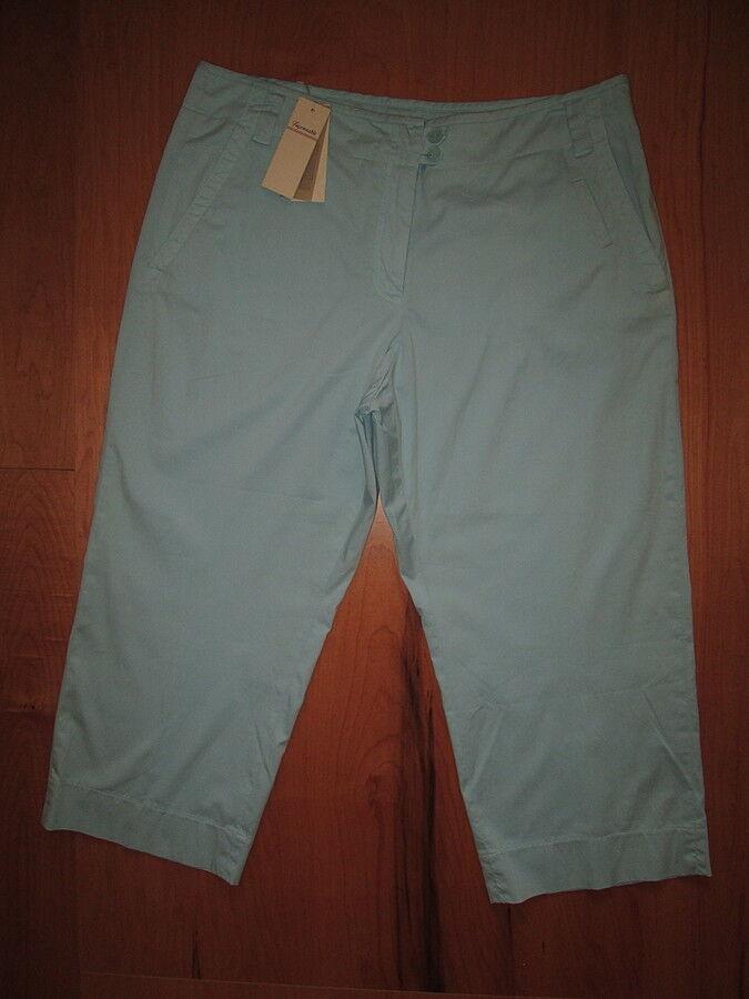 FACONNABLE Size 16 x 24 Capri Crop Stretch Light bluee Pants Womens New