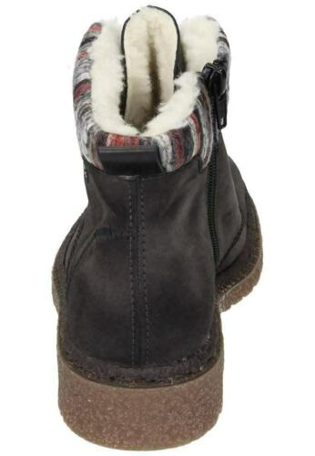 Rieker 73222 Ladies Grey Combi Warm Lined Lace//Zip Up Boots With Knitted Collar