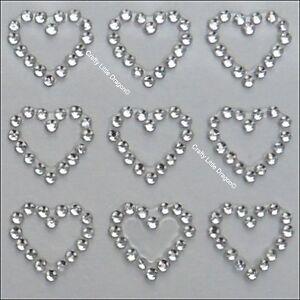 fdf76895b4ae 24 X 13mm Hearts Clear Rhinestone Diamante Stick on Self Adhesive Gems  Wedding