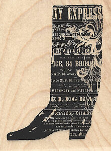Cowboy Boot Collage Wood Mounted Rubber Stamp Impression