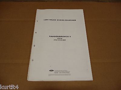 1988 Ford Ranger Pickup Truck Bronco Ii Wiring Diagram Sheet Service Manual Ebay