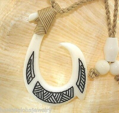 "31mm Hand Carved Tribal Hawaiian Makau Buffalo Bone Fish Hook Necklace 27"" #1"