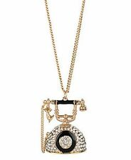 Vintage gold classic antique crystal telephone necklace