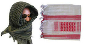 Tactical Arab Keffiyeh SHAMAGH SCARF Head Wrap - WHITE RED