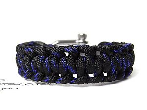 manner-frauen-Paracord-armband-half-hitch-surfer-armband-schakel-thin-Blue-Line