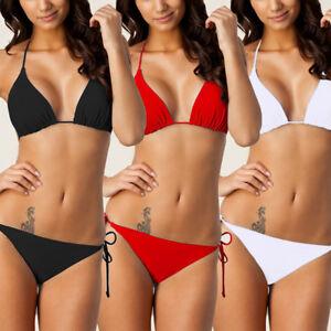 10837c6f80719 Details about Ladies Girls Womens Triangle Bikini Top Pink Black Red Bikini  Bottom Swimwear