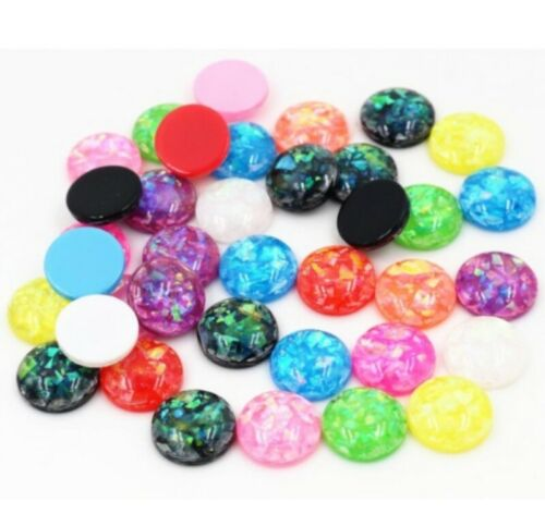40pcs 12mm Charm Round Built-in Foil Resin Cabochon Flatback Jewelry Making DIY