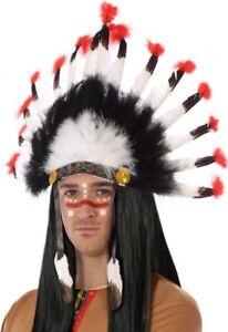 COIFFE-a-Plumes-d-039-INDIEN-Deguisement-apache-sioux-chef-guerrier-NEUF-pas-cher
