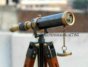 Antique-Brass-Spyglass-Telescope-With-Wooden-Tripod-Marine-Scope-Nautical-Design