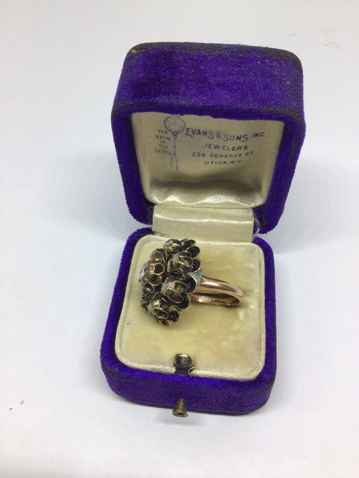 Dramatic Antique Victorian Diamond, Enamel - 14 K… - image 4