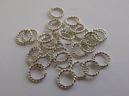 Twisted Sterling Silver Open Jump Rings AWG 16 approx 1.2mm Pack of 10