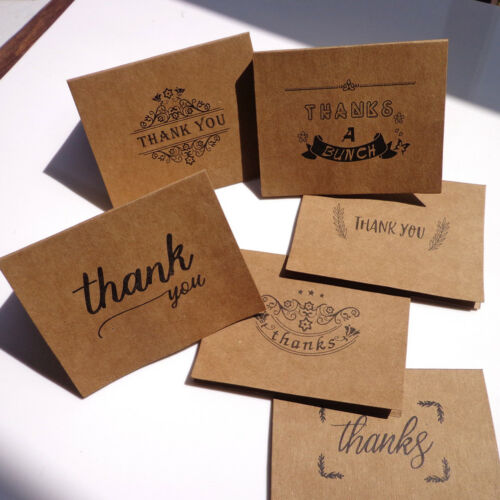 18pcs kraft paper thank you greeting cards envelopes seal stickers party deco OS