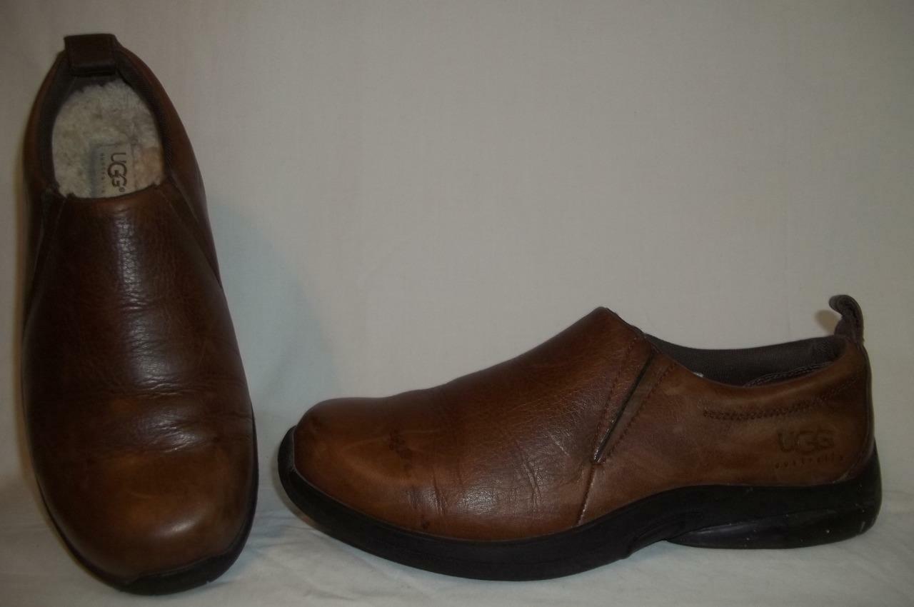 UGG Australia Brown Leather & amp;Shearling Slip On S / N 5438 Zapatos 10