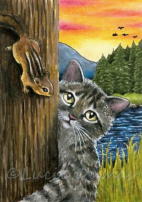 ACEO miniature art print from art painting Cat 596 Chipmunk Squirrel by L.Dumas