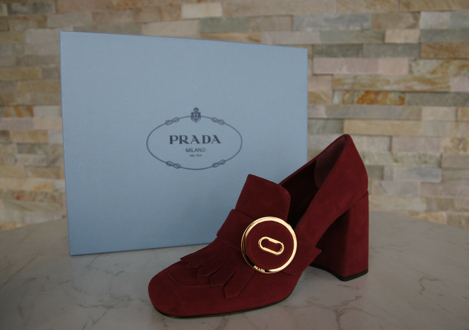 Luxus Prada Gr 37,5 Pumps Schuhe High Heels 1D723H rot purpur neu ehem.
