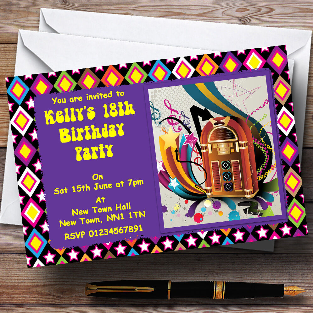 Retro Music Funky Hippie Personalised Party Invitations