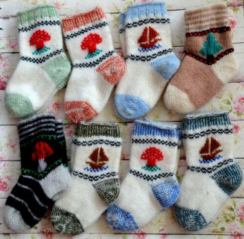 NEW Baby Socks HomeKnitted Russian natural sheep wool yarn thick warm soft