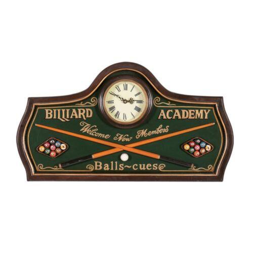 Wooden Billiard Academy Sign Clock 3D Art R824 w// FREE Shipping