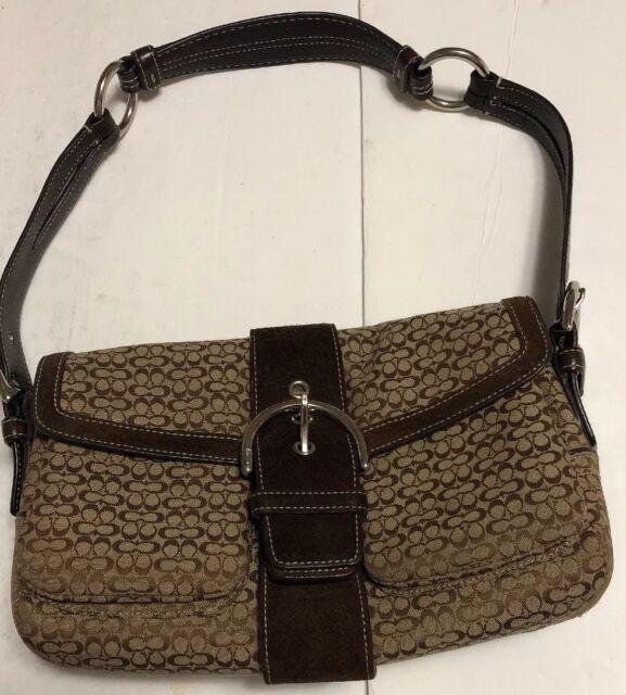 COACH 1463 Brown Canvas Suede Signature Pocket Flap Purse Shoulder Bag 12dc25d3b93cd