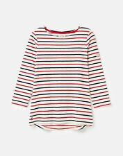Joules 208567 3/4 Sleeve Lightweight Jersey Top Shirt - RED AND NAVY STRIPE