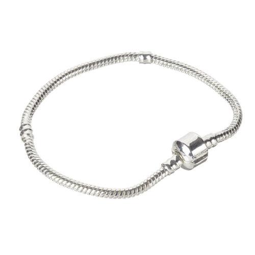 2.5 mm Argent Chaîne Serpent Bracelet avec Snap Fermoir 19 cm Pack de 1 B60//3