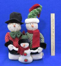 Plush Snowmen Trio Family Christmas Winter Decor Snowman Sweaters Hats Scarf