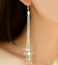 #1156 Women Rhinestone Drop 3  Star Layers Chain Tassels Dangle Long Earrings