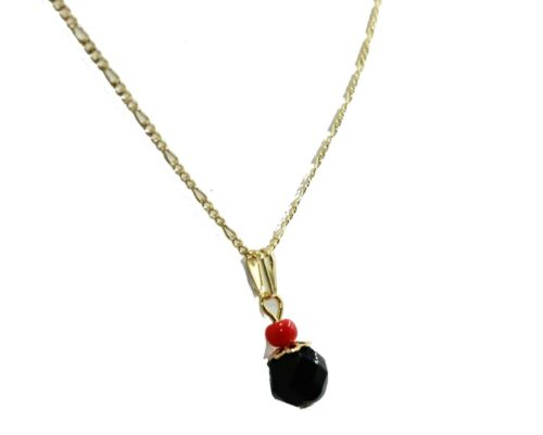 Azabache Charm Pendant 18K Gold Plated Azabache Necklace with 20 inch Chain