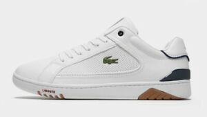 Lacoste-Mens-White-Trainers-WHT-NVY-Leather-Uk-Mens-8-5-Rare-89rrp-Box-Genuine