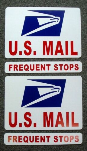 """FREQUENT STOPS U.S 1 3//4/"""" X 12/"""" 2 2 8/"""" X 12/"""" + MAIL Magnetic Sign USPS"""