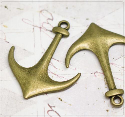 4x Metall Anhänger Charm Anker Meer maritim Schmuck DIY Basteln bronze 39x31mm