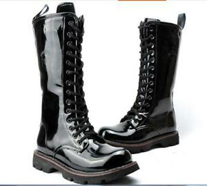 military-Mens-combat-punk-boots-Mid-Calf-patent-leather-Strappy-motorcycle-shoes