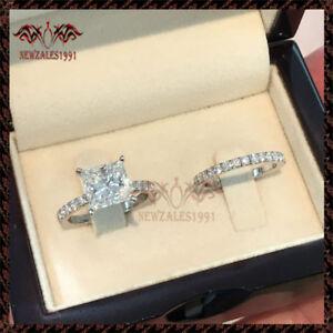 2Ct-Princess-Cut-Diamond-Solitaire-Bridal-Set-Engagement-Ring-10K-White-Gold