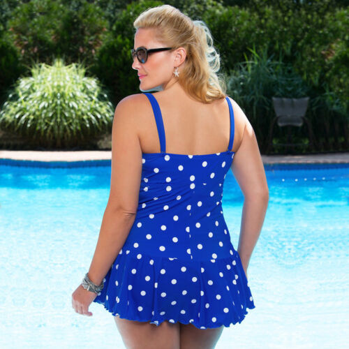 Polka Dot Taille Plus Maillots De Bain Femmes Bikini deux pièces maillot de bain jupe robe de bain TANKINI