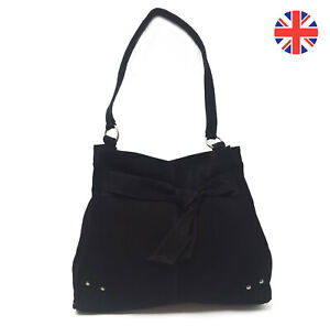 100-Genuine-Suede-Womens-Large-Soft-Berry-amp-Black-Hobo-Shoulder-Handbag