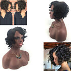 100% Brazilian Virgin Black Hair Short Bob Curly Full Lace Wig Lace Front Wig