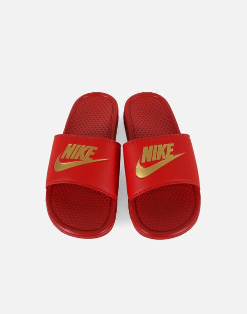 new style 01836 5cb06 New Nike Banassi JDI 343880-602 University RedMetallic Gold Men