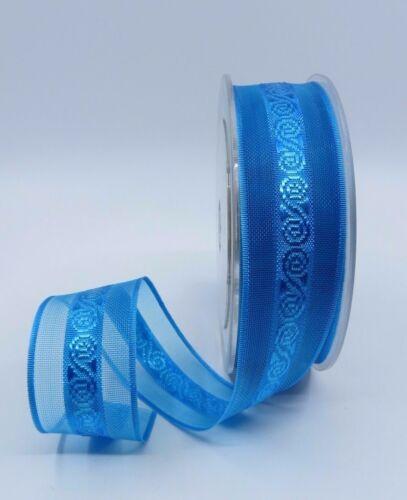 25mm Luxury Satin /& Sheer Organza Ribbon with flower patten Aqua Blue colour