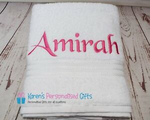 Personalised-Towel-White-Supreme-100-Egyptian-Cotton-Towels-Hand-Bath-Sheet