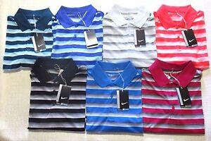 New-Nike-Golf-Mens-Polo-Shirt-S-M-L-Tech-Dri-Fit-Blue-Grey-Striped-818048-NWT