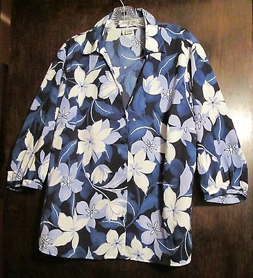 Womens Top Blouse 14W Judith Hart Button Blue And White Floral Cyber Monday Spl