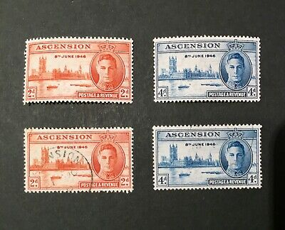 British Colonies & Territories Ascension Island Dashing Ascension 1946 George Vi Victory Complete Set Lmm &vfu