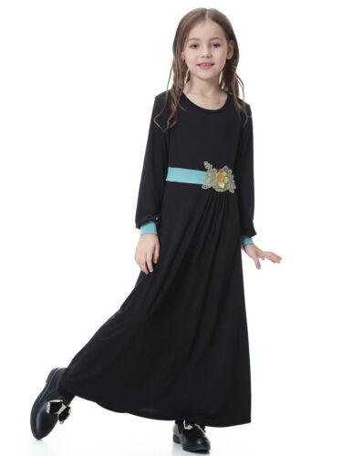Kids Child Girls Milk Silk Dress Robe Muslim Abaya Burka Arab Prayer Maxi Kaftan