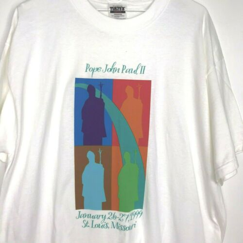 Vintage Pope John Paul ll T-Shirt  XL Papal Visit