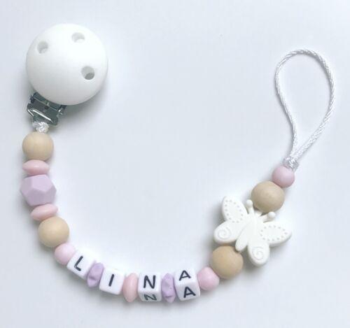 Schnullerkette Schnullerband Nuckelkette Beißkette mit Namen rosa weiß flieder