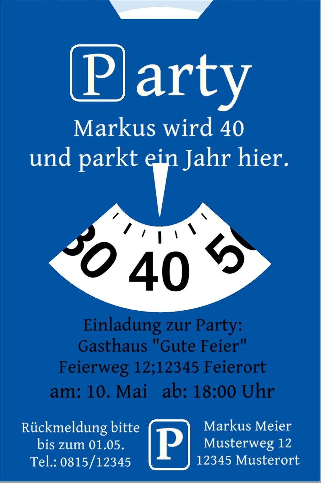 Einladung Geburtstag Party Feier Foto Karte Parkscheibe witzig lustig gt_ps   Kaufen    König der Quantität
