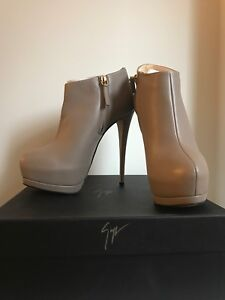 9eb5d12ccc7  895 GIUSEPPE ZANOTTI EVA LEATHER SAND ANKLE DOUBLE PLATFORM BOOTIES ...