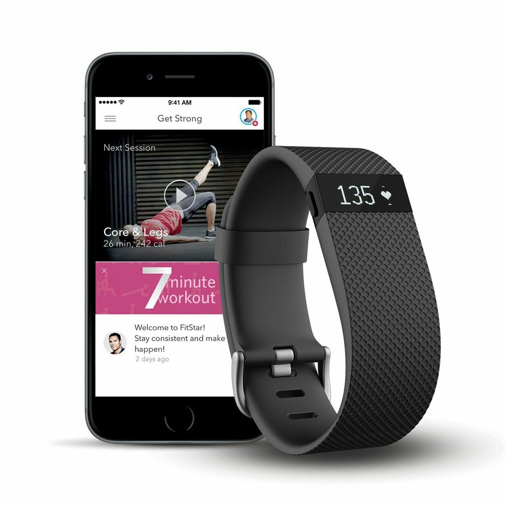 Fitbit 795107 Charge HR + FitStar Personal Training Bundle - Small   Ebay