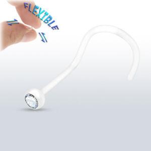 20g-BioFlex-Flexible-Nose-Screws-Rings-Clear-Bezel-Set-Gem-Body-Jewelry-LOT-OF-5