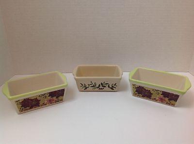 3 Ceramic Stoneware Mini Loaf Bread Pans Fall Design